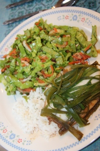 Steamed Tilapia with Ginger and Scallions with Asian Chicken Salad