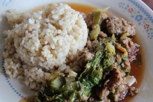 Chinese cabbage, Scallion and Ground Pork Stir-fry