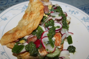 Fish Taco and Radish Salad Served on Fry Bread