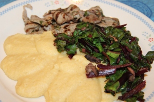 Jerk Pork and Swiss Chard